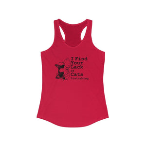 Women's Racerback Tank: I find your lack of cats disturbing Tank Top Printify Solid Red XS