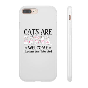 Flexi iPhone & Galaxy Phone Cases: Cats Are Welcome Humans Are Tolerated Phone Case Printify iPhone 8 Plus