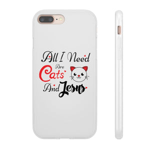 Flexi iPhone & Galaxy Phone Cases: All I Need Are Cats & Jesus Phone Case Printify iPhone 8 Plus