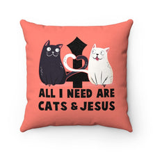 "Load image into Gallery viewer, Faux Suede Square Pillow: All I Need Are Cats & Jesus Home Decor Printify 14"" x 14"""