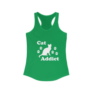 Women's Racerback Tank: Cat Addict Tank Top Printify Solid Kelly Green XS