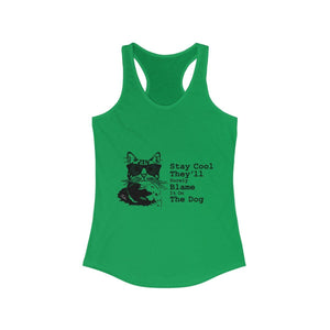 Women's Racerback Tank: Stay Cool They'll Surely Blame It On The Dog Tank Top Printify Solid Kelly Green XS