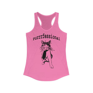 Women's Ideal Racerback Tank: Purrrfessional Tank Top Printify Solid Hot Pink XS