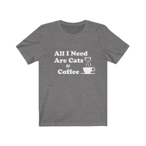 T-Shirt: All I Need Are Cats & Coffee T-Shirt Printify Deep Heather XS