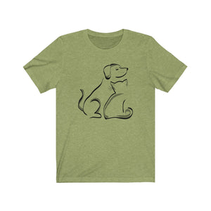 T-Shirt: Cat and Dog T-Shirt Printify Heather Green XS