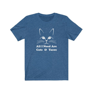 T-Shirt: All I Need Are Cats & Tacos T-Shirt Printify Heather True Royal S