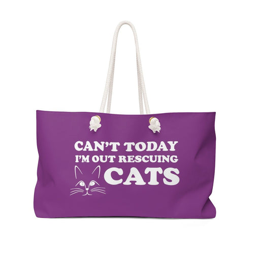 Weekender Bag: Can't Today I'm Out Rescuing Cats Bags Printify 24x13