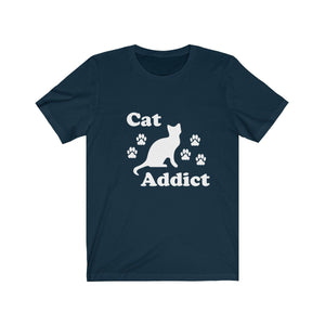 T-Shirt: Cat Addict T-Shirt Printify Navy XS
