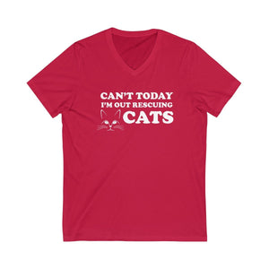 V-Neck T-Shirt: Can't Today I'm Out Rescuing Cats V-neck Printify Red XS