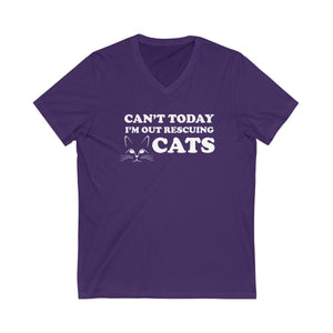 V-Neck T-Shirt: Can't Today I'm Out Rescuing Cats V-neck Printify Team Purple XS