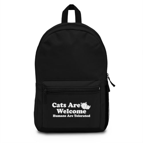 Backpack (Made in USA) - Cats Are Welcome Humans Are Tolerated Bags Printify One Size