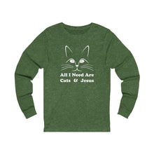 Load image into Gallery viewer, Long Sleeve T-Shirt: All I Need Are Cats & Jesus Long-sleeve Printify Heather Forest S