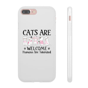 Flexi iPhone & Galaxy Phone Cases: Cats Are Welcome Humans Are Tolerated Phone Case Printify iPhone 7 Plus