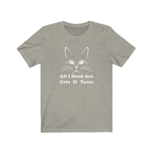 T-Shirt: All I Need Are Cats & Tacos T-Shirt Printify Heather Stone S