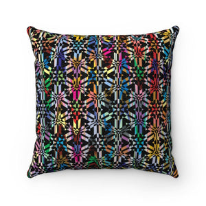 "Colorful Abstract Pattern Faux Suede Square Pillow Home Decor Printify 14"" x 14"""