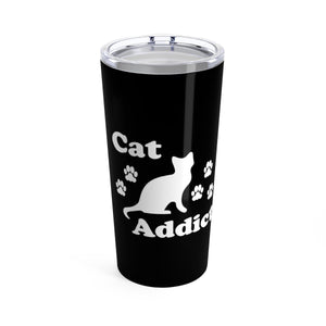 Vacuum Insulated 20oz Tumbler: Cat Addict Mug Printify