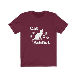 T-Shirt: Cat Addict T-Shirt Printify Maroon XS