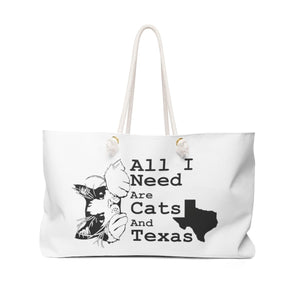Weekender Bag: All I Need Are Cats And Texas (Multiple Colors) Bags Printify White