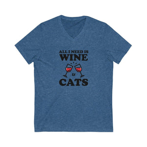 V-Neck T-Shirt: All I Need Is Wine & Cats V-neck Printify Heather True Royal XS