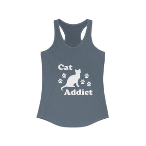 Women's Racerback Tank: Cat Addict Tank Top Printify Solid Indigo XS