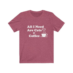 T-Shirt: All I Need Are Cats & Coffee T-Shirt Printify Heather Raspberry XS