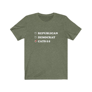 T-Shirt: Republican Democrat Cats T-Shirt Printify Heather Olive S