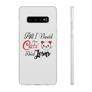 Flexi iPhone & Galaxy Phone Cases: All I Need Are Cats & Jesus Phone Case Printify Samsung Galaxy S10 Plus