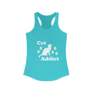 Women's Racerback Tank: Cat Addict Tank Top Printify Solid Tahiti Blue XS