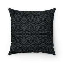 "Load image into Gallery viewer, Black Abstract Pattern Faux Suede Square Pillow Home Decor Printify 14"" x 14"""