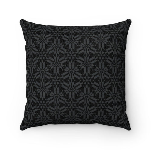 Black Abstract Pattern Faux Suede Square Pillow Home Decor Printify 14