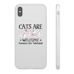 Flexi iPhone & Galaxy Phone Cases: Cats Are Welcome Humans Are Tolerated Phone Case Printify iPhone XS MAX