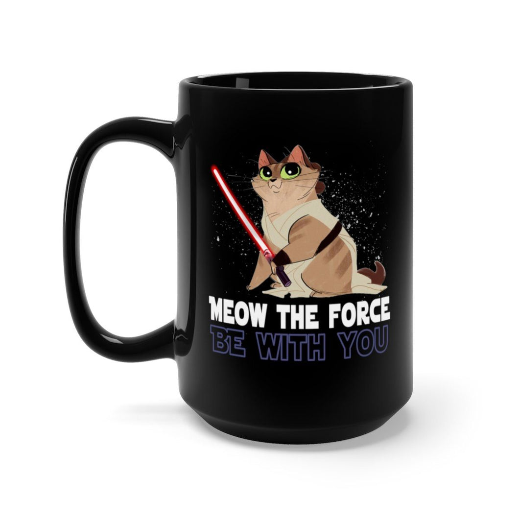 Black Coffee Mug 15oz: Meow The Force Be With You Mug Printify 15oz