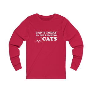 Long Sleeve T-Shirt: Can't Today I'm Out Rescuing Cats Long-sleeve Printify Red S