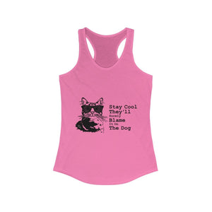 Women's Racerback Tank: Stay Cool They'll Surely Blame It On The Dog Tank Top Printify Solid Hot Pink XS