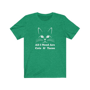 T-Shirt: All I Need Are Cats & Tacos T-Shirt Printify Heather Kelly S