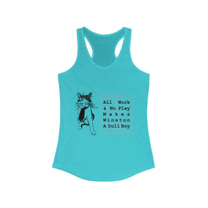 Women's Racerback Tank: All Work And No Play Makes Winston A Dull Boy Tank Top Printify Solid Tahiti Blue XS