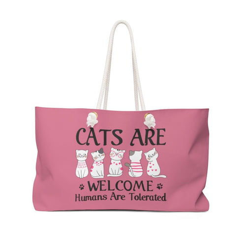 Weekender Bag: Cats Are Welcome Humans Are Tolerated Bags Printify 24x13