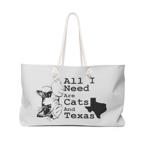 Weekender Bag: All I Need Are Cats And Texas (Multiple Colors) Bags Printify Light Gray