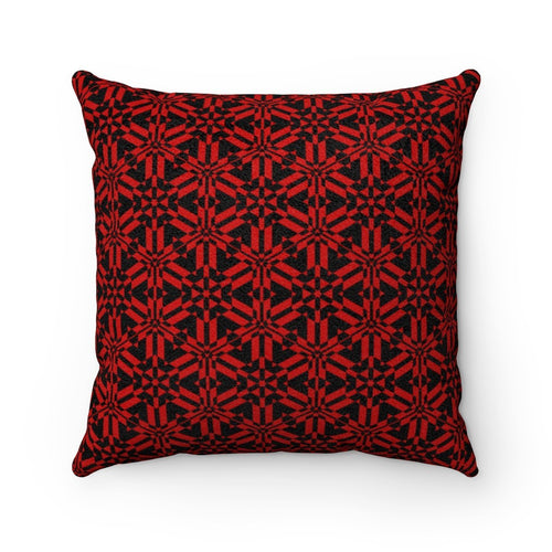 Red Abstract Pattern Faux Suede Square Pillow Home Decor Printify 14