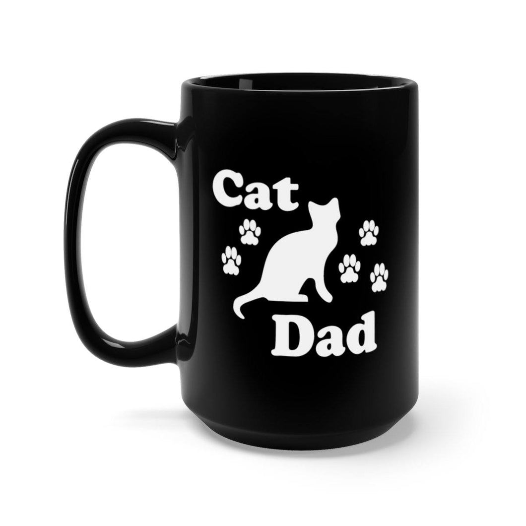 Black Coffee Mug 15oz: Cat Dad Mug Printify 15oz