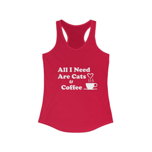 Women's Racerback Tank: All I Need Are Cats & Coffee Tank Top Printify Solid Red XS