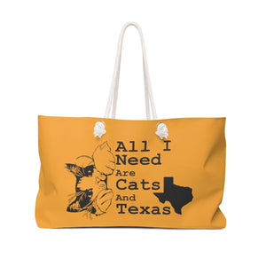 Weekender Bag: All I Need Are Cats And Texas (Multiple Colors) Bags Printify Orange