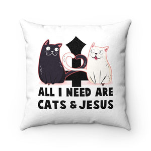 "Faux Suede Square Pillow: All I Need Are Cats & Jesus Home Decor Printify 14"" x 14"""