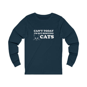 Long Sleeve T-Shirt: Can't Today I'm Out Rescuing Cats Long-sleeve Printify Navy S