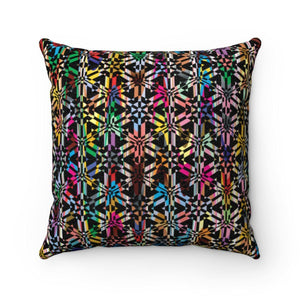 Colorful Abstract Pattern Faux Suede Square Pillow Home Decor Printify