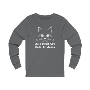 Long Sleeve T-Shirt: All I Need Are Cats & Jesus Long-sleeve Printify Asphalt S