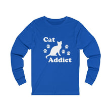 Load image into Gallery viewer, Long Sleeve T-Shirt: Cat Addict Long-sleeve Printify True Royal S