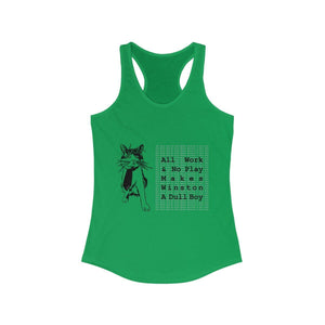 Women's Racerback Tank: All Work And No Play Makes Winston A Dull Boy Tank Top Printify Solid Kelly Green XS