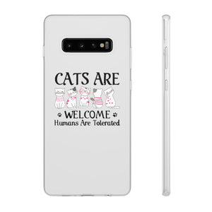 Flexi iPhone & Galaxy Phone Cases: Cats Are Welcome Humans Are Tolerated Phone Case Printify Samsung Galaxy S10 Plus