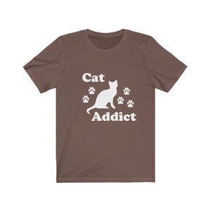 T-Shirt: Cat Addict T-Shirt Printify Brown XS